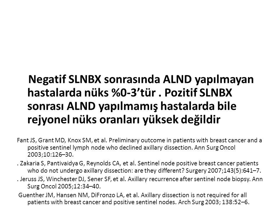 Negatif SLNBX sonrasında ALND yapılmayan hastalarda nüks %0-3'tür. Pozitif SLNBX sonrası ALND yapılmamış hastalarda bile rejyonel nüks oranları yüksek