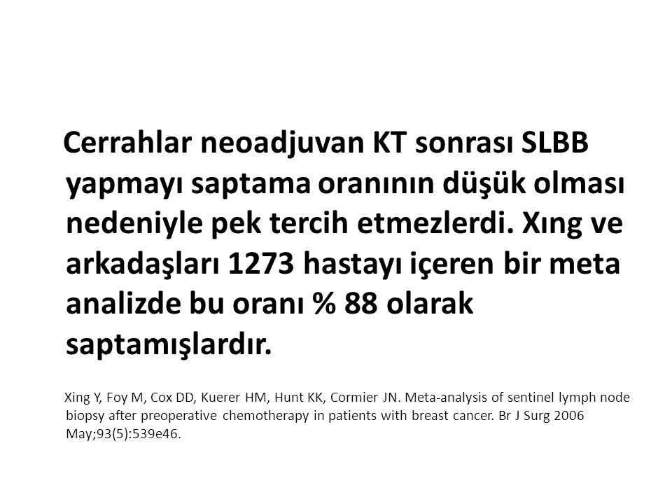 Cerrahlar neoadjuvan KT sonrası SLBB yapmayı saptama oranının düşük olması nedeniyle pek tercih etmezlerdi. Xıng ve arkadaşları 1273 hastayı içeren bi
