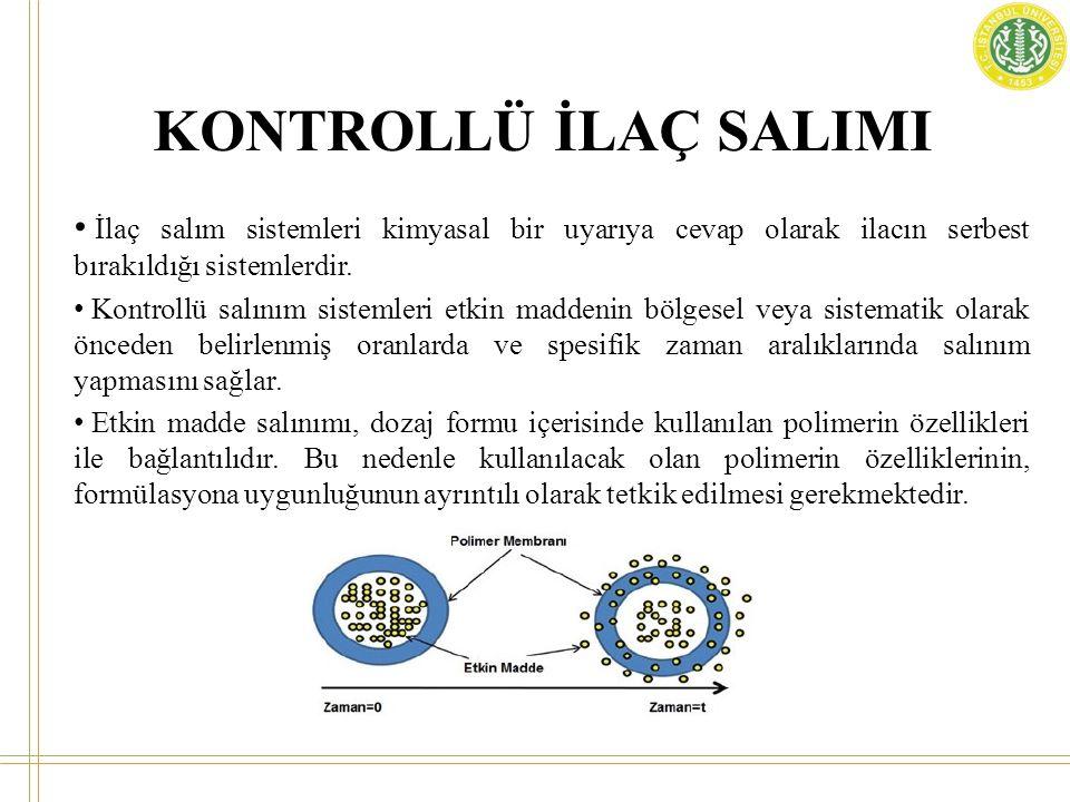 KONTROLLÜ İLAÇ SALINIM SİSTEMLERİ Kimyasal kontrollü sistemler Vücutta aşınan sistemler: Biyolojik aşınabilir sistemlerde matrislerde olduğu gibi ilaç polimer içinde dağıtılır.
