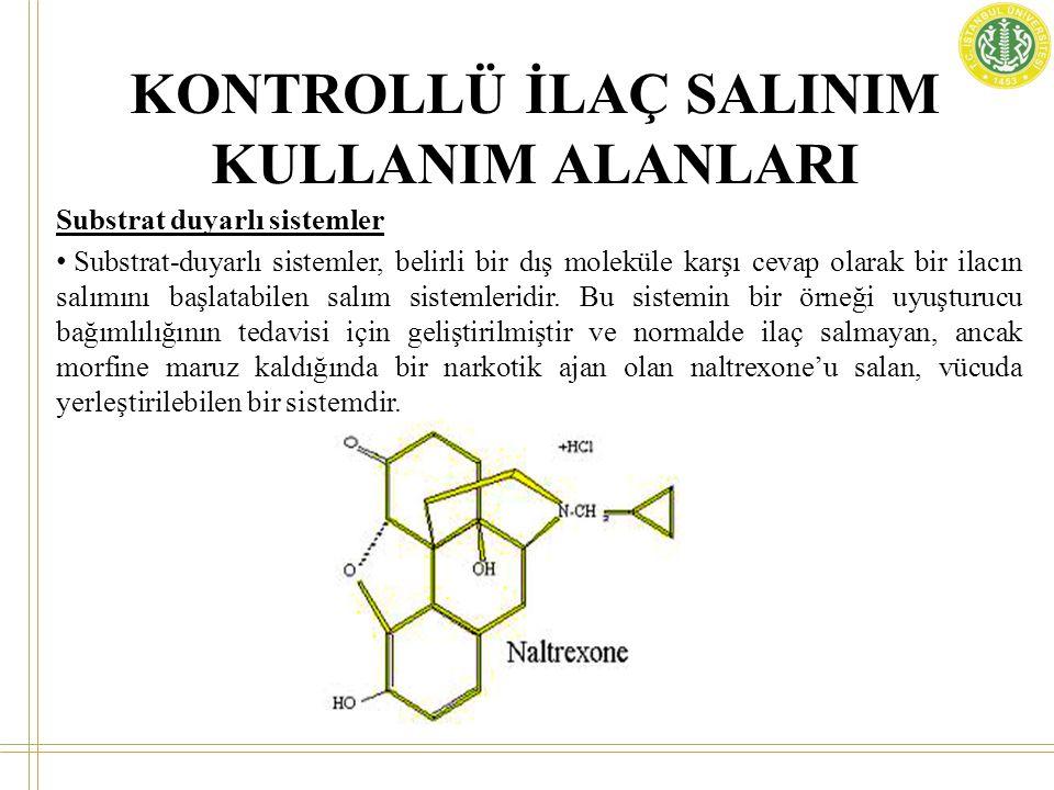 Substrat duyarlı sistemler Substrat-duyarlı sistemler, belirli bir dış moleküle karşı cevap olarak bir ilacın salımını başlatabilen salım sistemleridi