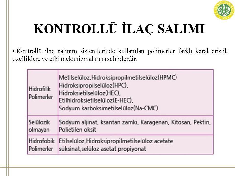 KONTROLLÜ İLAÇ SALIMI HPMC: Hidroksipropilmetilselüloz iyonik olmayan selüloz eter türevi bir polimerdir.