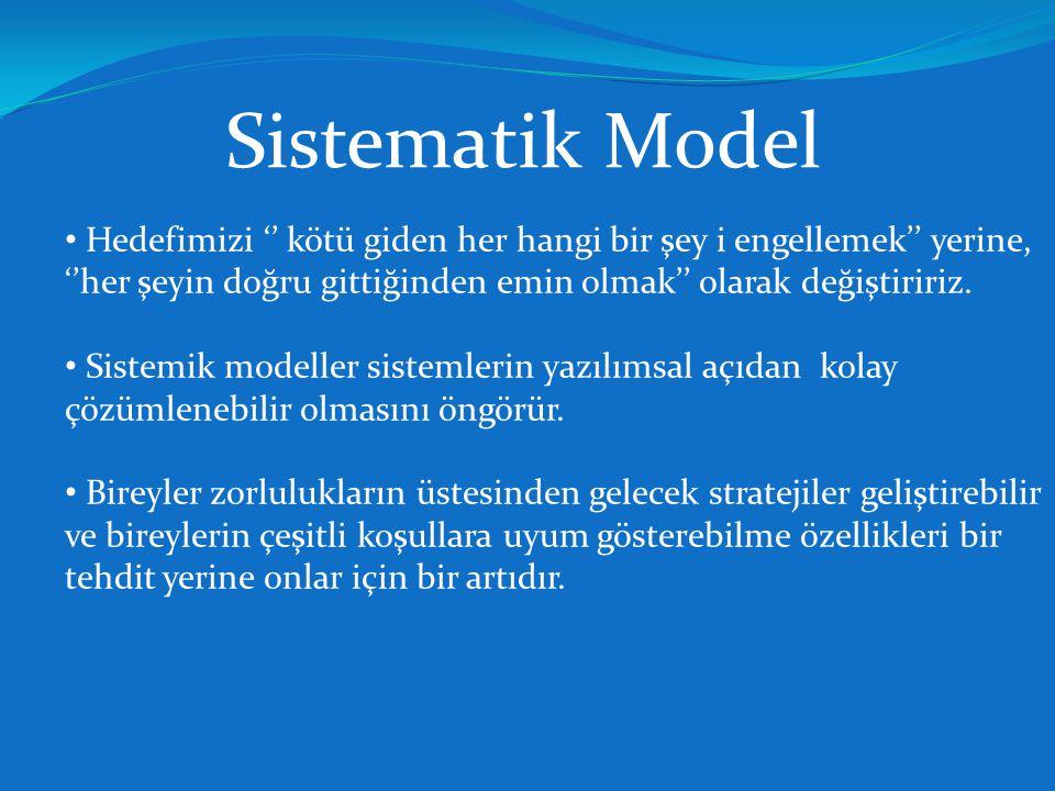 Sistematik Model Hedefimizi '' kötü giden her hangi bir şey i engellemek'' yerine, ''her şeyin doğru gittiğinden emin olmak'' olarak değiştiririz.