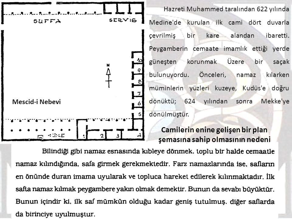 Camilerin enine gelişen bir plan şemasına sahip olmasının nedeni Hazreti Muhammed taralından 622 yılında Medine'de kurulan ilk cami dört duvarla çevri