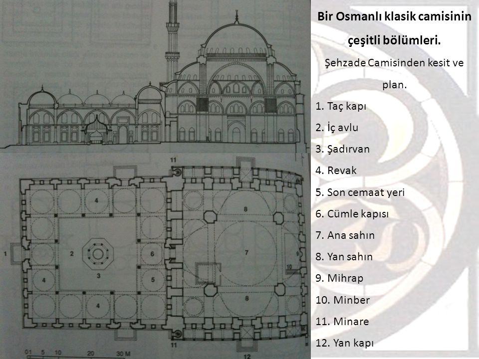 Bir Osmanlı klasik camisinin çeşitli bölümleri. Şehzade Camisinden kesit ve plan. 1. Taç kapı 2. İç avlu 3. Şadırvan 4. Revak 5. Son cemaat yeri 6. Cü