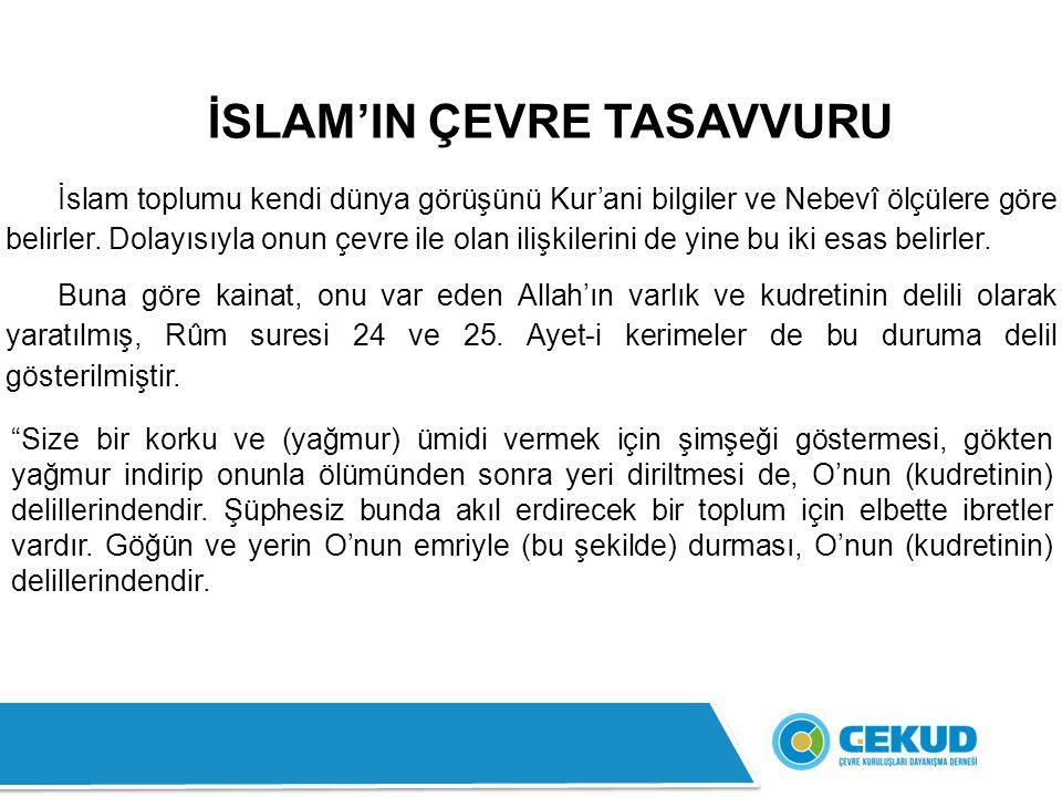 İSLAM'IN ÇEVRE TASAVVURU İslam toplumu kendi dünya görüşünü Kur'ani bilgiler ve Nebevî ölçülere göre belirler.