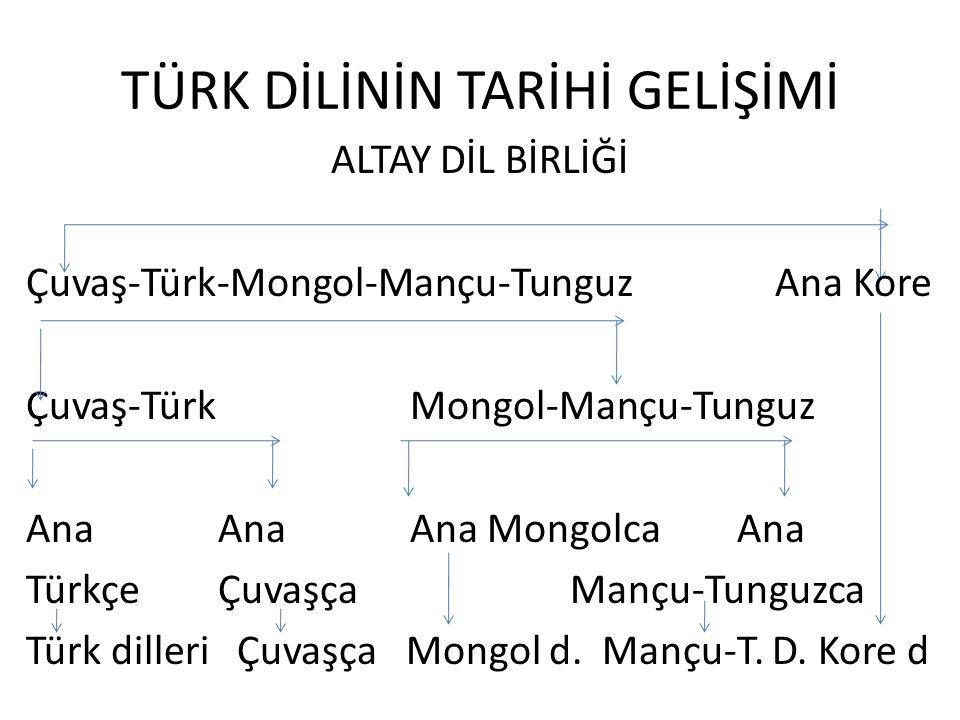 TÜRK DİLİNİN TARİHİ GELİŞİMİ ALTAY DİL BİRLİĞİ Çuvaş-Türk-Mongol-Mançu-Tunguz Ana Kore Çuvaş-Türk Mongol-Mançu-Tunguz Ana AnaAna Mongolca Ana TürkçeÇuvaşça Mançu-Tunguzca Türk dilleri Çuvaşça Mongol d.