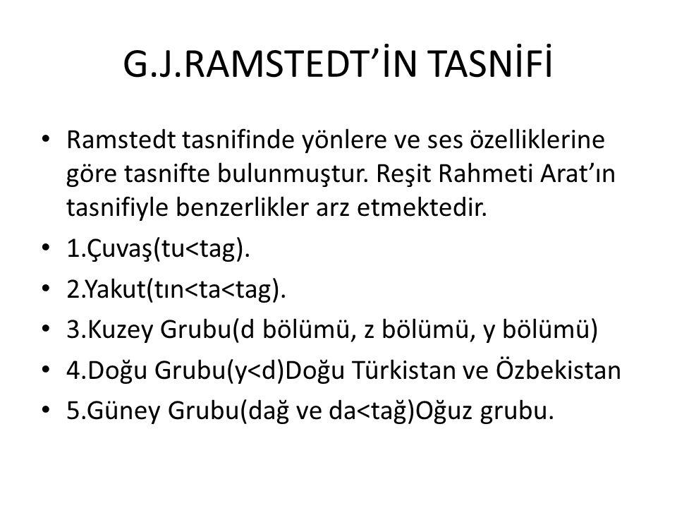 G.J.RAMSTEDT'İN TASNİFİ Ramstedt tasnifinde yönlere ve ses özelliklerine göre tasnifte bulunmuştur.