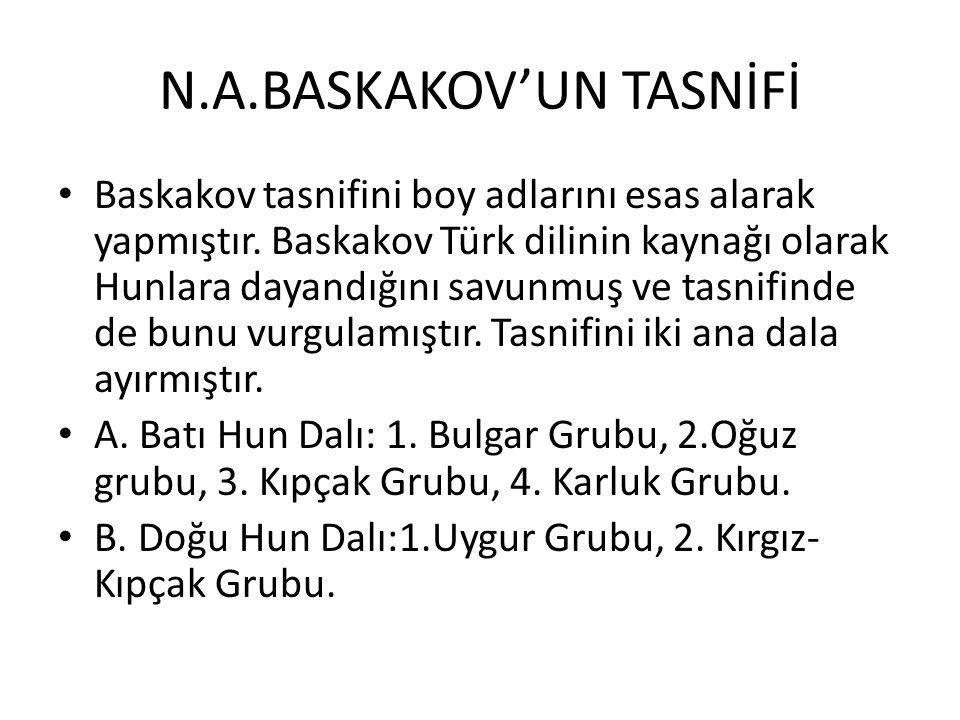 N.A.BASKAKOV'UN TASNİFİ Baskakov tasnifini boy adlarını esas alarak yapmıştır.