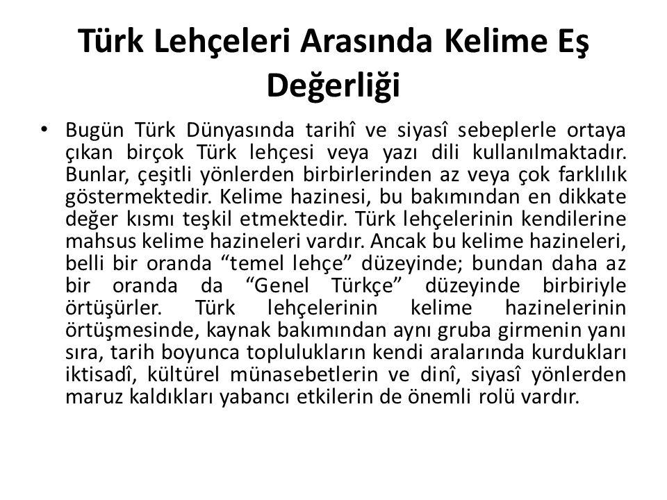 Türk Lehçeleri Arasında Kelime Eş Değerliği Bugün Türk Dünyasında tarihî ve siyasî sebeplerle ortaya çıkan birçok Türk lehçesi veya yazı dili kullanılmaktadır.