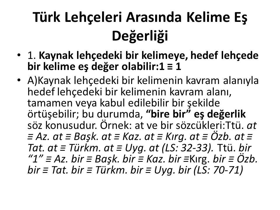 Türk Lehçeleri Arasında Kelime Eş Değerliği 1.
