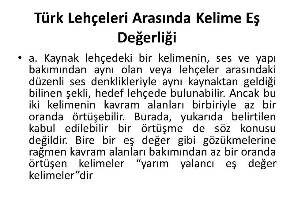 Türk Lehçeleri Arasında Kelime Eş Değerliği a.