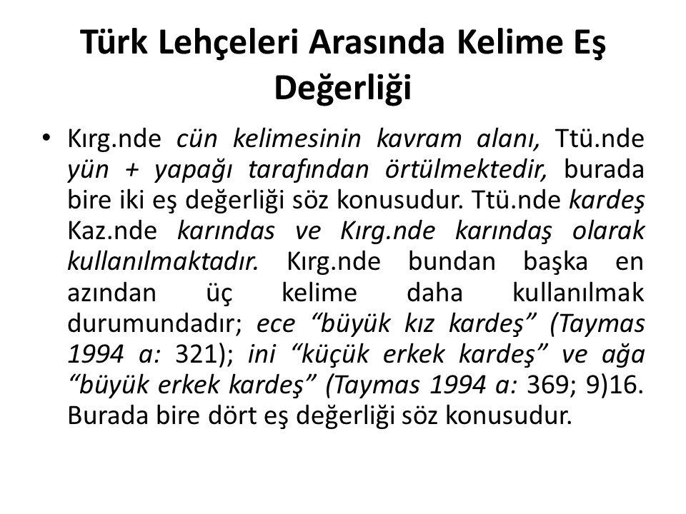 Türk Lehçeleri Arasında Kelime Eş Değerliği Kırg.nde cün kelimesinin kavram alanı, Ttü.nde yün + yapağı tarafından örtülmektedir, burada bire iki eş değerliği söz konusudur.