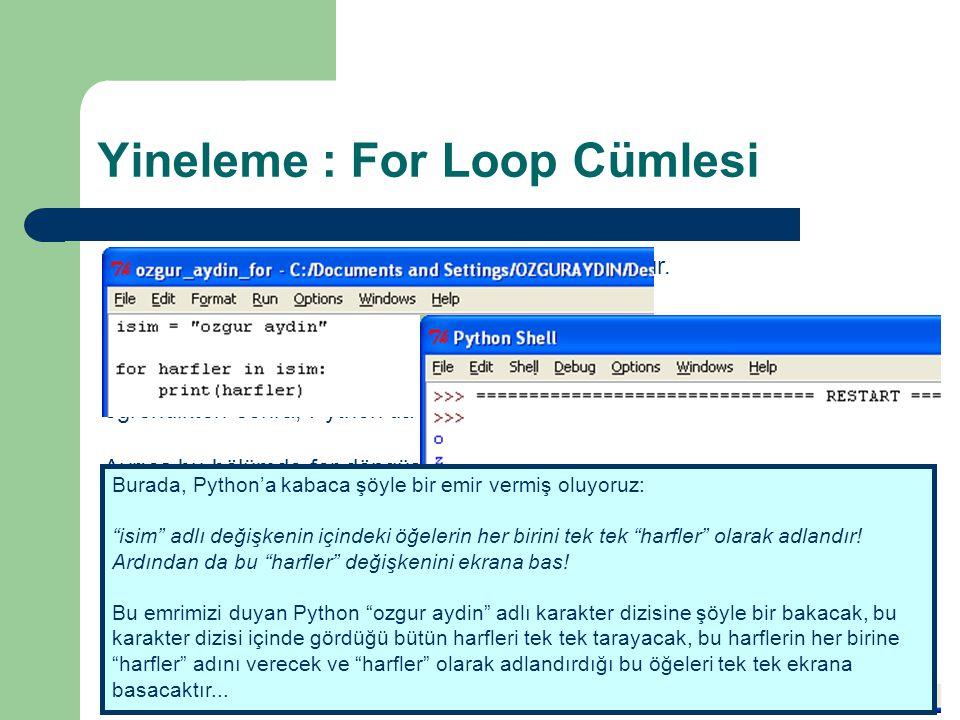 Yineleme : For Loop Cümlesi Python'da işleyeceğimiz ikinci döngü, for döngüsüdür.