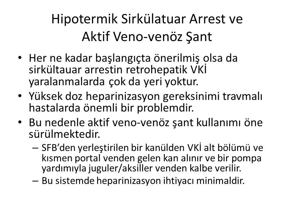 Hipotermik Sirkülatuar Arrest ve Aktif Veno-venöz Şant Her ne kadar başlangıçta önerilmiş olsa da sirkültauar arrestin retrohepatik VKİ yaralanmalarda