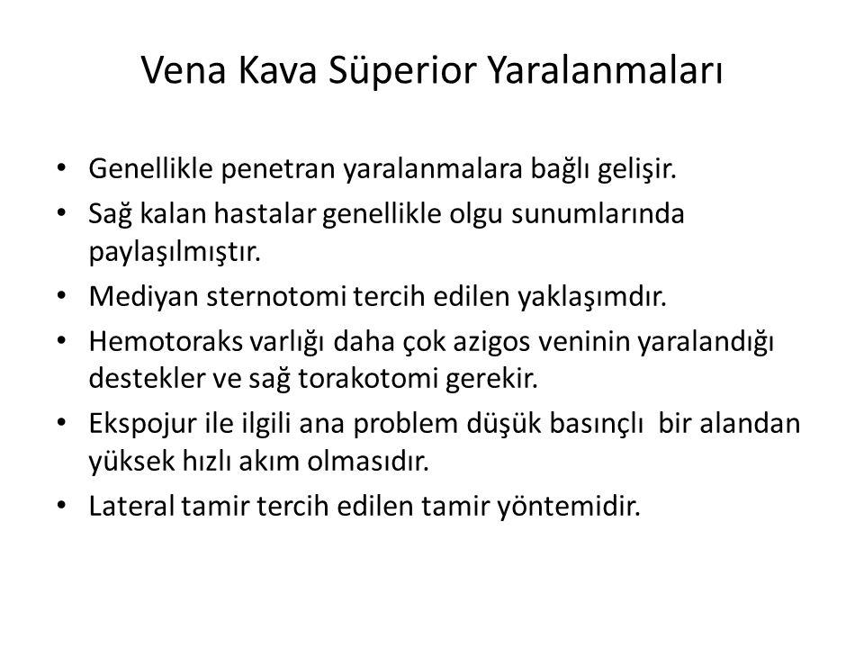 Vena Kava Süperior Yaralanmaları Genellikle penetran yaralanmalara bağlı gelişir. Sağ kalan hastalar genellikle olgu sunumlarında paylaşılmıştır. Medi