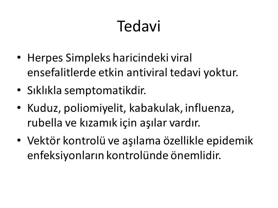 Tedavi Herpes Simpleks haricindeki viral ensefalitlerde etkin antiviral tedavi yoktur. Sıklıkla semptomatikdir. Kuduz, poliomiyelit, kabakulak, influe