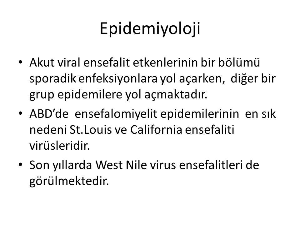 Epidemiyoloji Akut viral ensefalit etkenlerinin bir bölümü sporadik enfeksiyonlara yol açarken, diğer bir grup epidemilere yol açmaktadır. ABD'de ense