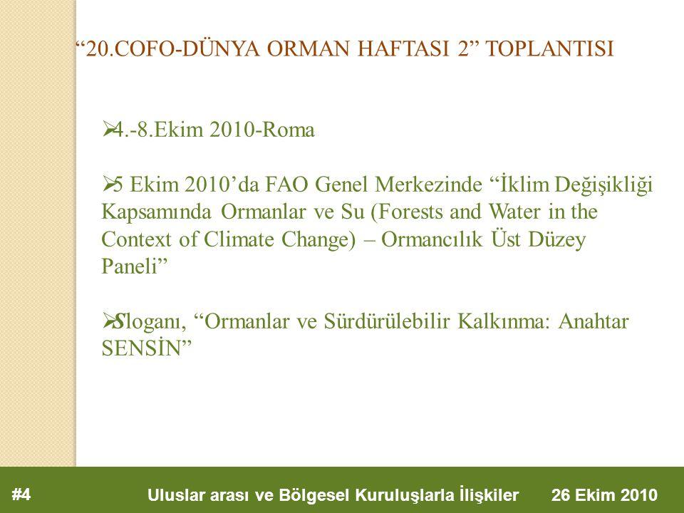 20.COFO-DÜNYA ORMAN HAFTASI 2 TOPLANTISI #4 Uluslar arası ve Bölgesel Kuruluşlarla İlişkiler 26 Ekim 2010  4.-8.Ekim 2010-Roma  5 Ekim 2010'da FAO Genel Merkezinde İklim Değişikliği Kapsamında Ormanlar ve Su (Forests and Water in the Context of Climate Change) – Ormancılık Üst Düzey Paneli  Sloganı, Ormanlar ve Sürdürülebilir Kalkınma: Anahtar SENSİN