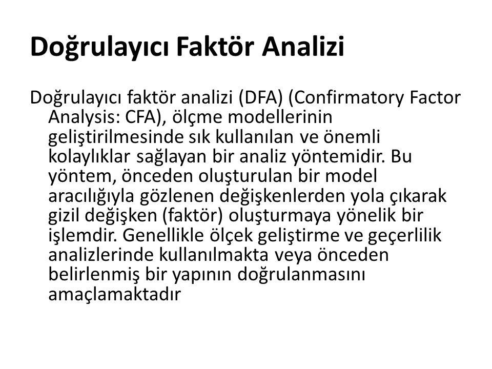 Doğrulayıcı Faktör Analizi Doğrulayıcı faktör analizi (DFA) (Confirmatory Factor Analysis: CFA), ölçme modellerinin geliştirilmesinde sık kullanılan v