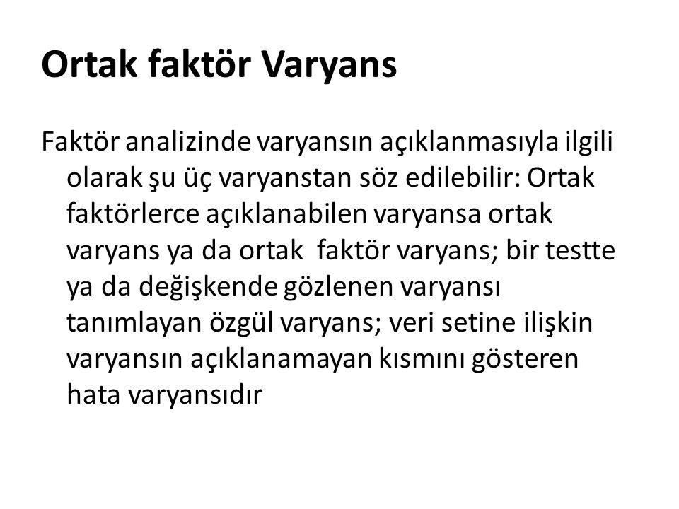 Ortak faktör Varyans Faktör analizinde varyansın açıklanmasıyla ilgili olarak şu üç varyanstan söz edilebilir: Ortak faktörlerce açıklanabilen varyans