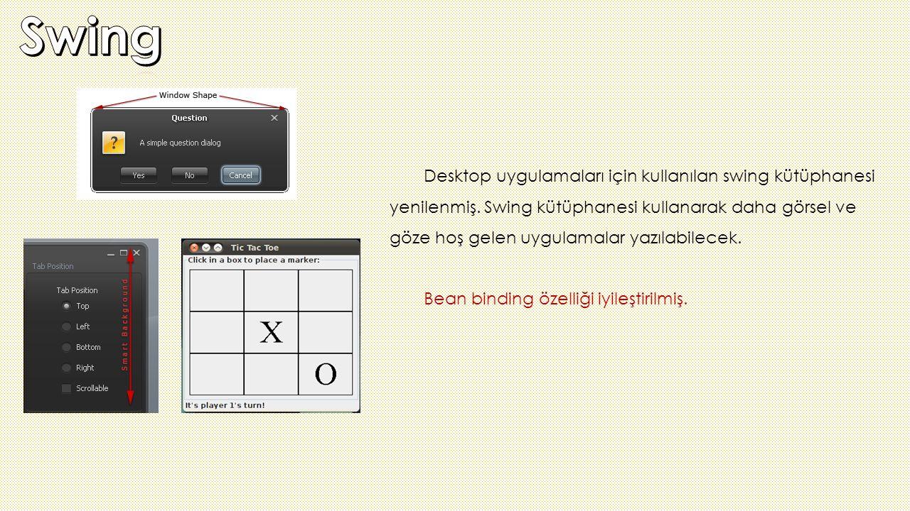 Desktop uygulamaları için kullanılan swing kütüphanesi yenilenmiş. Swing kütüphanesi kullanarak daha görsel ve göze hoş gelen uygulamalar yazılabilece