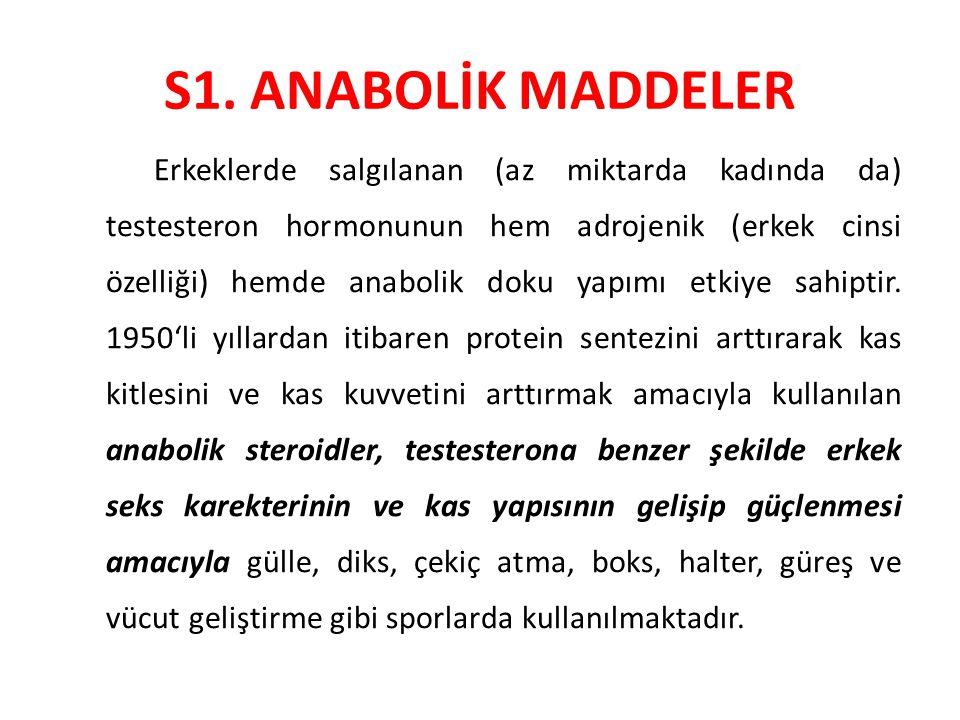 S1. ANABOLİK MADDELER Erkeklerde salgılanan (az miktarda kadında da) testesteron hormonunun hem adrojenik (erkek cinsi özelliği) hemde anabolik doku y