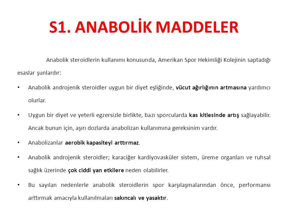 S1. ANABOLİK MADDELER Anabolik steroidlerin kullanımı konusunda, Amerikan Spor Hekimliği Kolejinin saptadığı esaslar şunlardır: Anabolik androjenik st