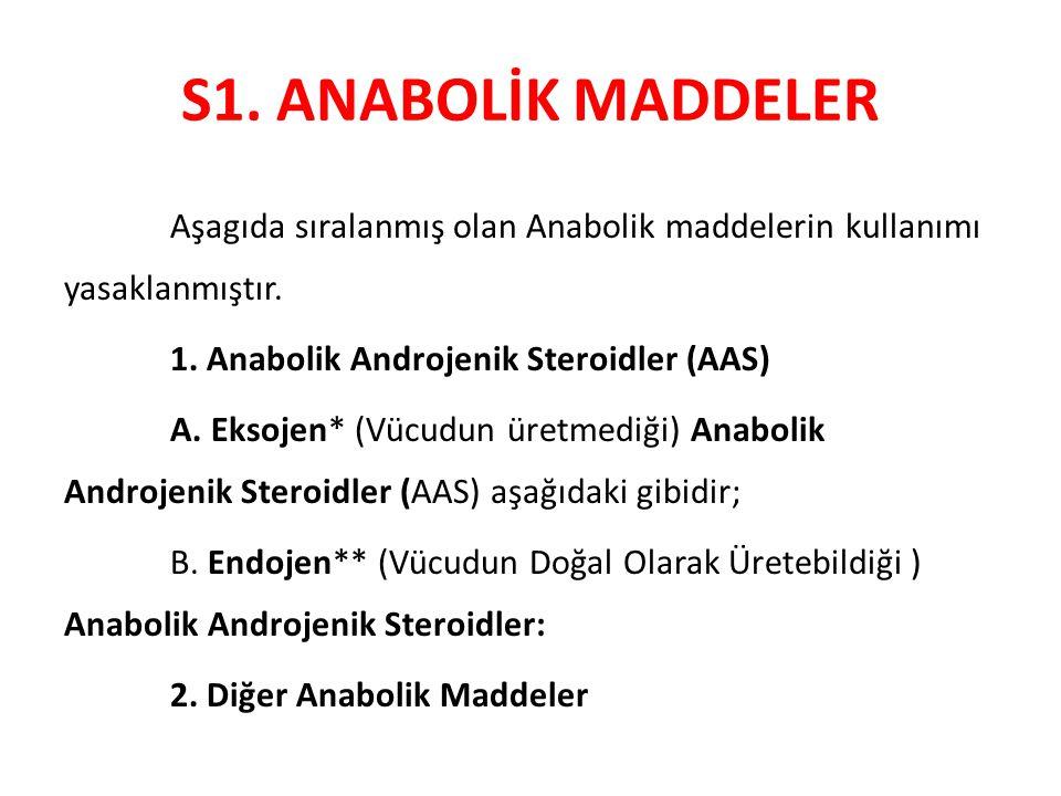 S1. ANABOLİK MADDELER Aşagıda sıralanmış olan Anabolik maddelerin kullanımı yasaklanmıştır. 1. Anabolik Androjenik Steroidler (AAS) A. Eksojen* (Vücud
