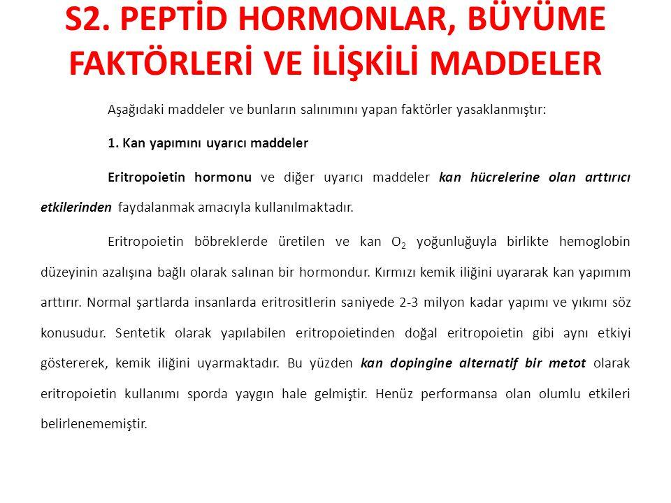 S2. PEPTİD HORMONLAR, BÜYÜME FAKTÖRLERİ VE İLİŞKİLİ MADDELER Aşağıdaki maddeler ve bunların salınımını yapan faktörler yasaklanmıştır: 1. Kan yapımını