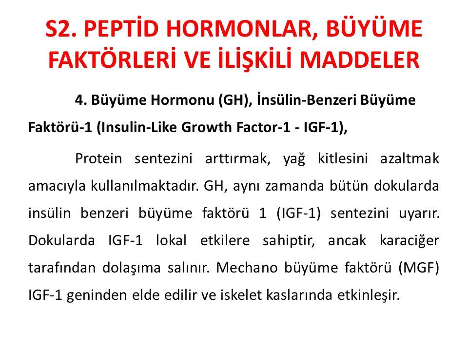 S2. PEPTİD HORMONLAR, BÜYÜME FAKTÖRLERİ VE İLİŞKİLİ MADDELER 4. Büyüme Hormonu (GH), İnsülin-Benzeri Büyüme Faktörü-1 (Insulin-Like Growth Factor-1 -
