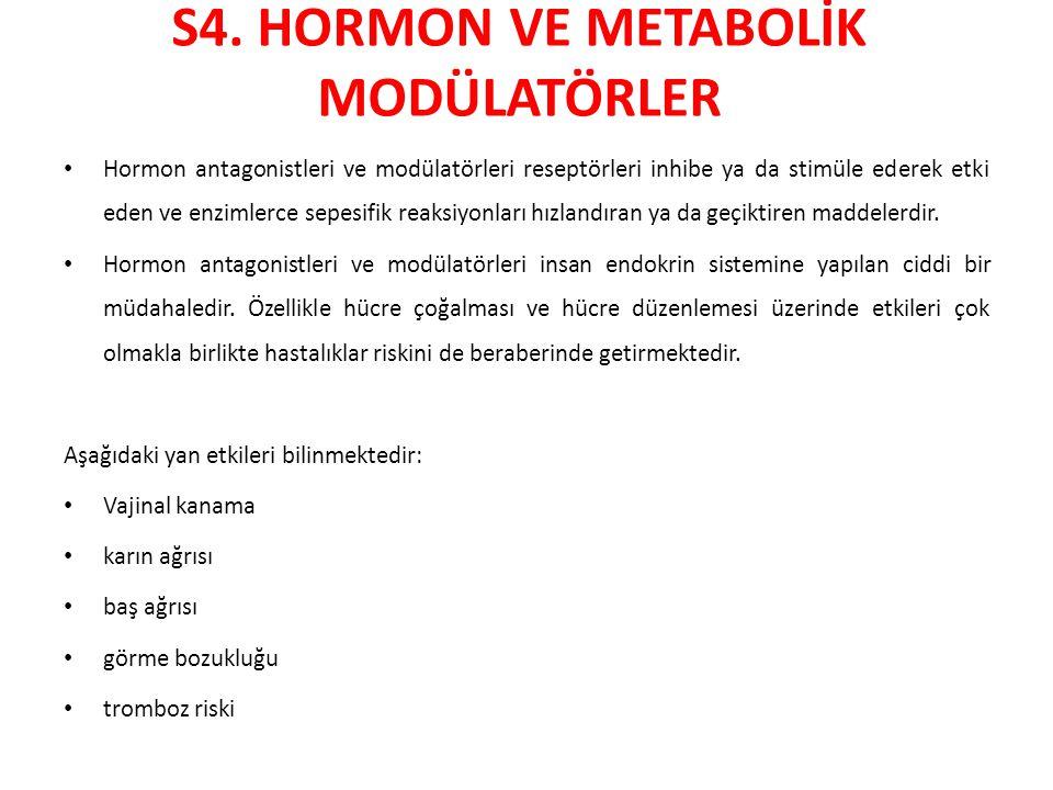 S4. HORMON VE METABOLİK MODÜLATÖRLER Hormon antagonistleri ve modülatörleri reseptörleri inhibe ya da stimüle ederek etki eden ve enzimlerce sepesifik