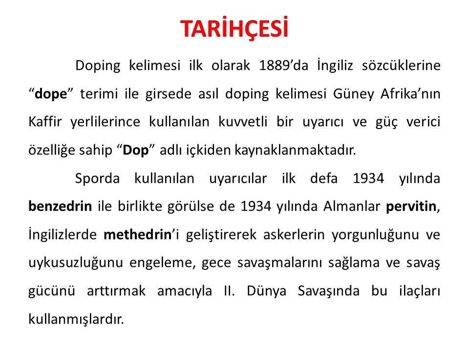 """TARİHÇESİ Doping kelimesi ilk olarak 1889'da İngiliz sözcüklerine """"dope"""" terimi ile girsede asıl doping kelimesi Güney Afrika'nın Kaffir yerlilerince"""