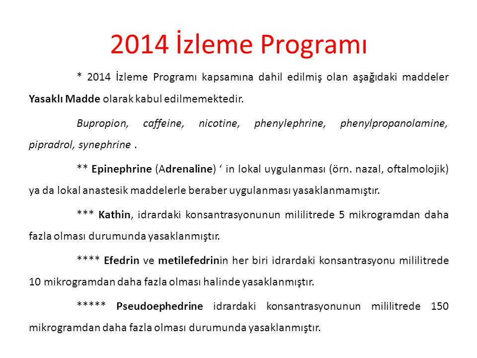 2014 İzleme Programı * 2014 İzleme Programı kapsamına dahil edilmiş olan aşağıdaki maddeler Yasaklı Madde olarak kabul edilmemektedir. Bupropion, caff