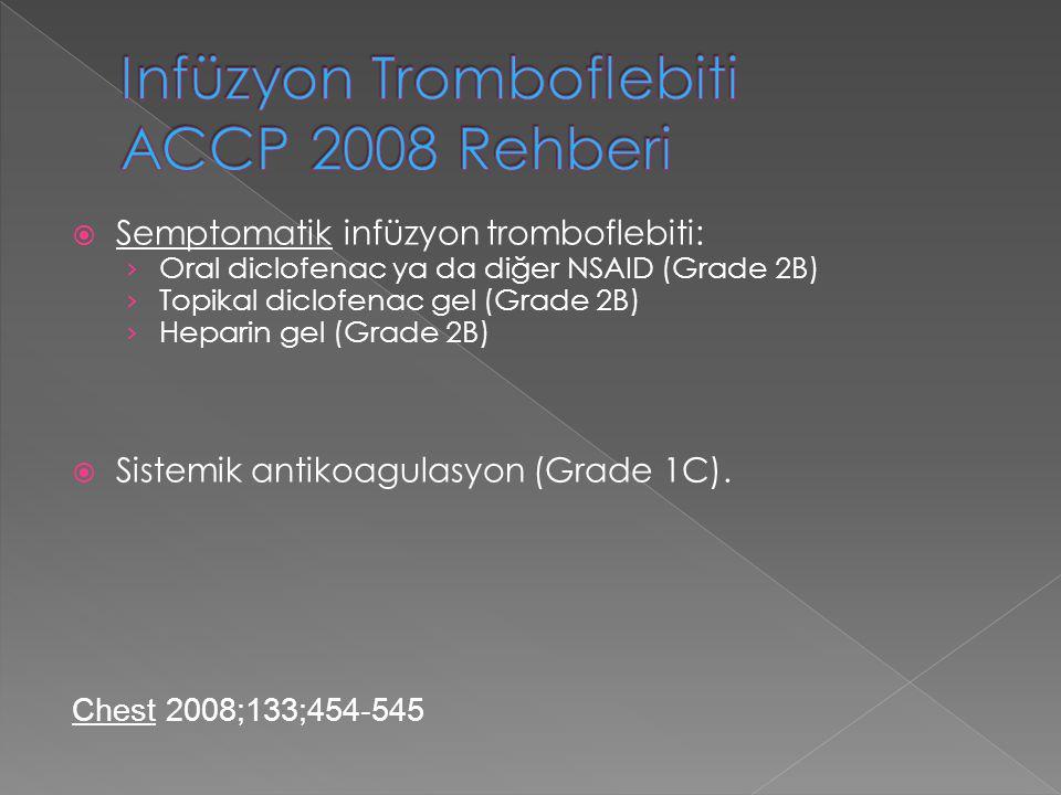  Semptomatik infüzyon tromboflebiti: › Oral diclofenac ya da diğer NSAID (Grade 2B) › Topikal diclofenac gel (Grade 2B) › Heparin gel (Grade 2B)  Si