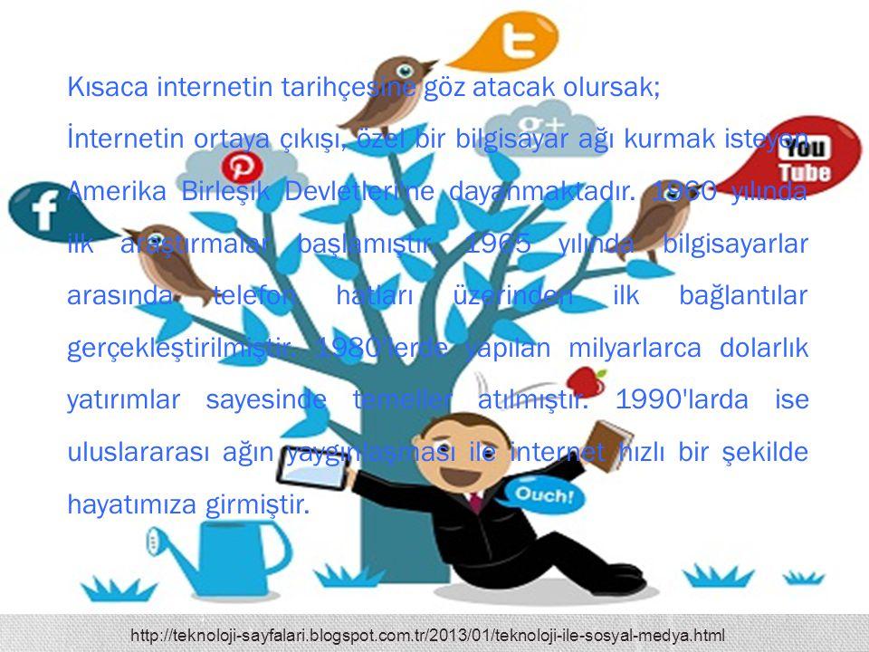 http://teknoloji-sayfalari.blogspot.com.tr/2013/01/teknoloji-ile-sosyal-medya.html Kısaca internetin tarihçesine göz atacak olursak; İnternetin ortaya
