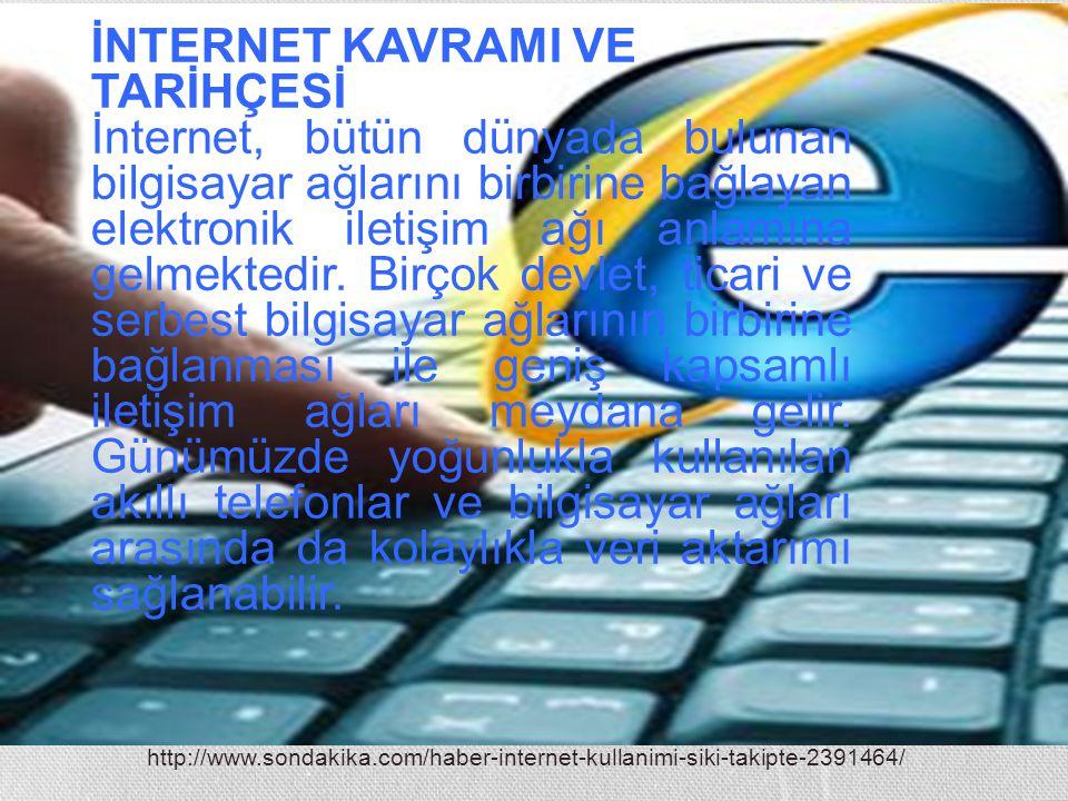 http://www.sondakika.com/haber-internet-kullanimi-siki-takipte-2391464/ İNTERNET KAVRAMI VE TARİHÇESİ İnternet, bütün dünyada bulunan bilgisayar ağlar