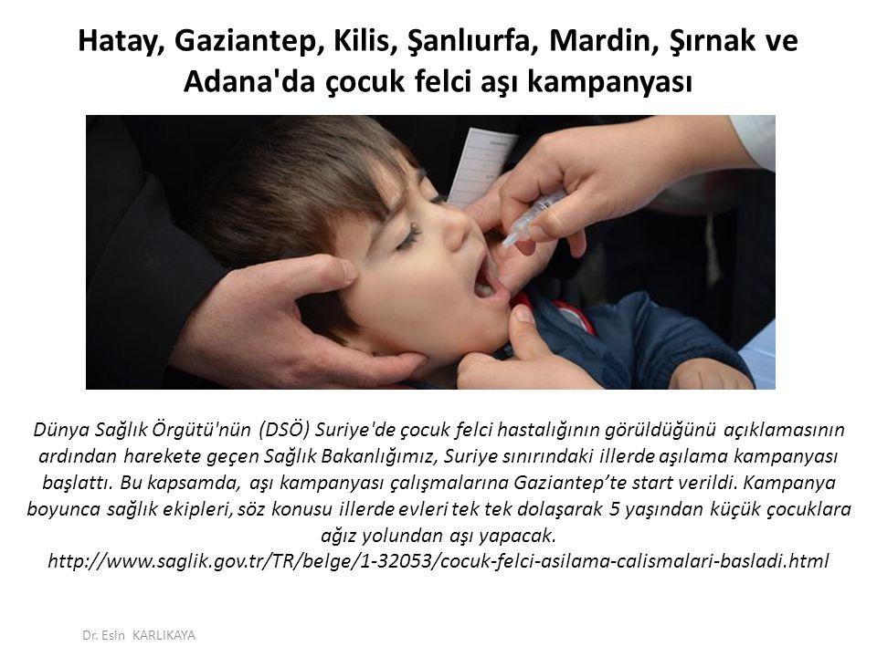 Hatay, Gaziantep, Kilis, Şanlıurfa, Mardin, Şırnak ve Adana'da çocuk felci aşı kampanyası Dünya Sağlık Örgütü'nün (DSÖ) Suriye'de çocuk felci hastalığ