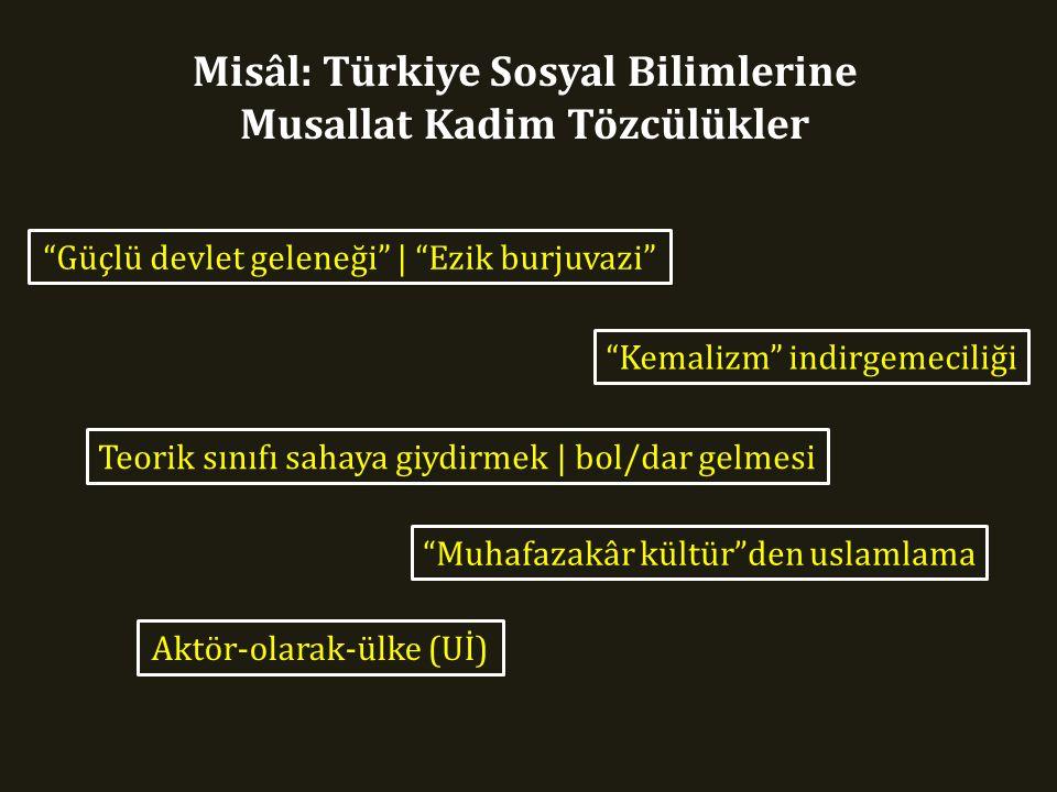 Misâl: Türkiye Sosyal Bilimlerine Musallat Kadim Tözcülükler Güçlü devlet geleneği | Ezik burjuvazi Kemalizm indirgemeciliği Teorik sınıfı sahaya giydirmek | bol/dar gelmesi Muhafazakâr kültür den uslamlama Aktör-olarak-ülke (Uİ)