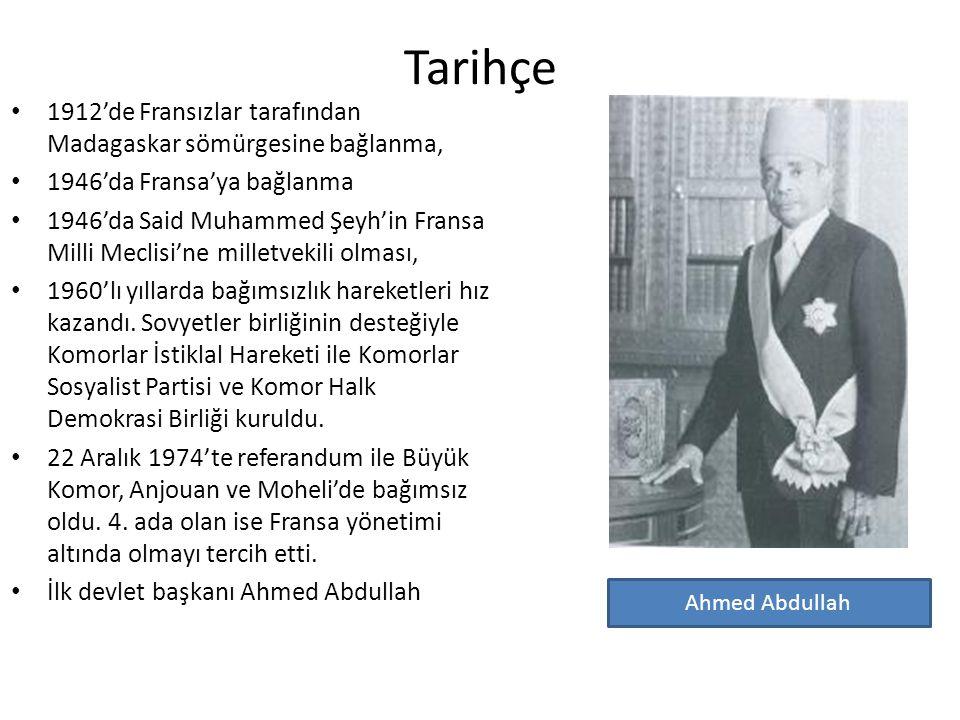 İdari Yapı İlk devlet başkanı Ahmed Abdullah (1958 – 1970), (1978 – 1989), 1989'da öldürüldü.