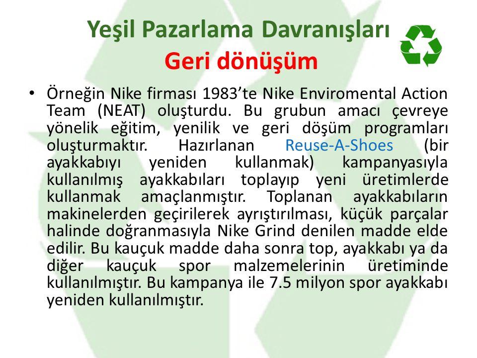 Örneğin Nike firması 1983'te Nike Enviromental Action Team (NEAT) oluşturdu. Bu grubun amacı çevreye yönelik eğitim, yenilik ve geri döşüm programları