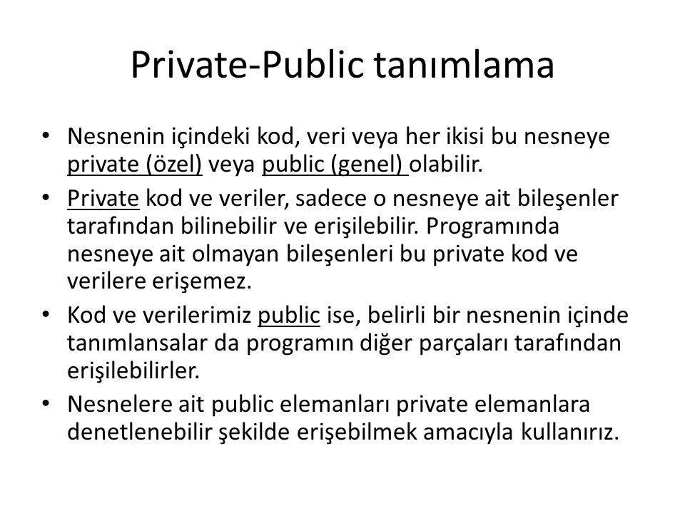 Private-Public tanımlama Nesnenin içindeki kod, veri veya her ikisi bu nesneye private (özel) veya public (genel) olabilir.