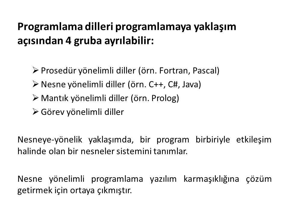 Programlama dilleri programlamaya yaklaşım açısından 4 gruba ayrılabilir:  Prosedür yönelimli diller (örn.