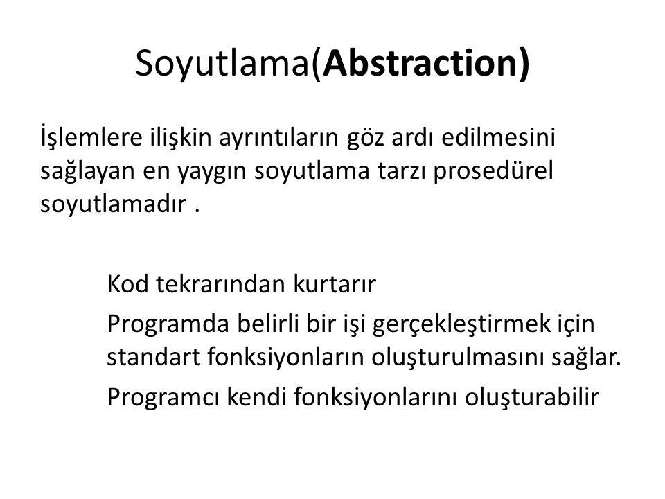 Soyutlama(Abstraction) Bir veri tipinin nasıl yapılandığının ayrıntılarının göz ardı edilmesine izin veren soyutlama tarzı da veri soyutlamasıdır.