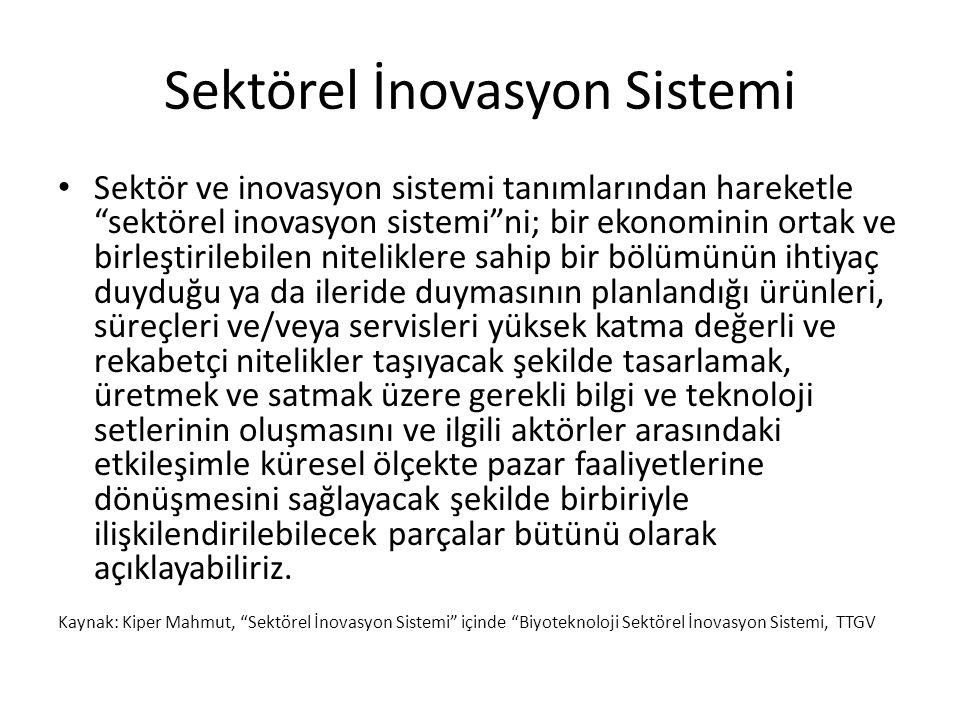 """Sektörel İnovasyon Sistemi Sektör ve inovasyon sistemi tanımlarından hareketle """"sektörel inovasyon sistemi""""ni; bir ekonominin ortak ve birleştirilebil"""