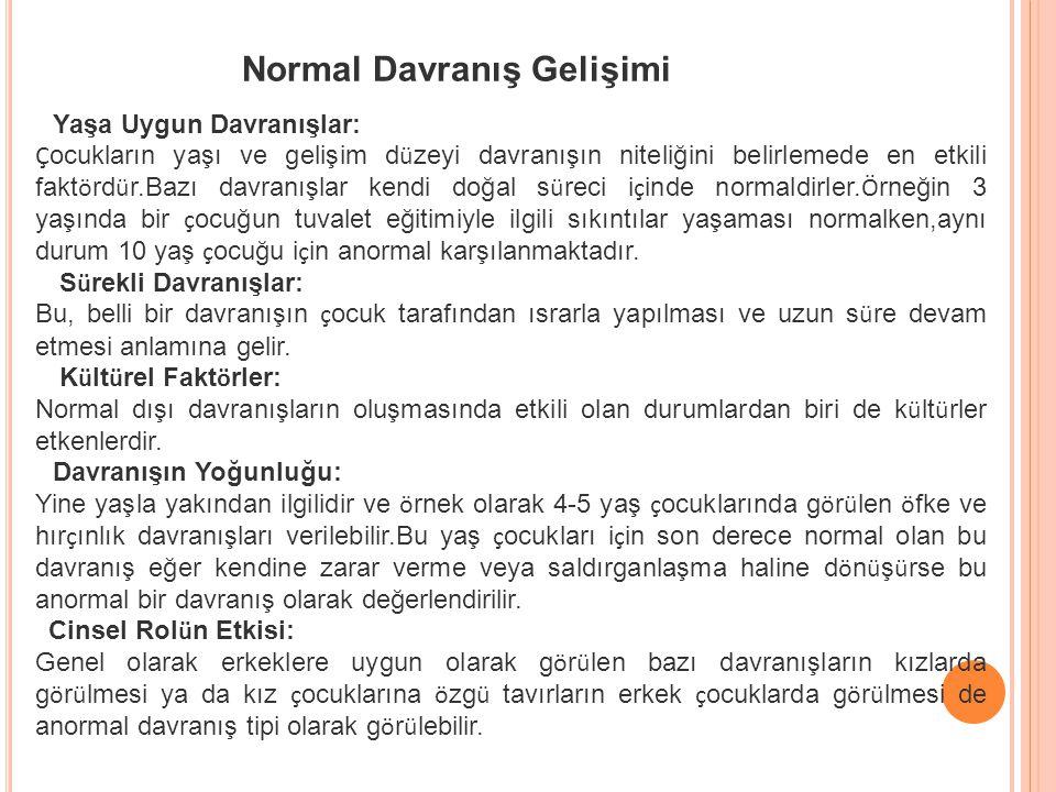 Normal Davranış Gelişimi Yaşa Uygun Davranışlar: Ç ocukların yaşı ve gelişim d ü zeyi davranışın niteliğini belirlemede en etkili fakt ö rd ü r.Bazı d