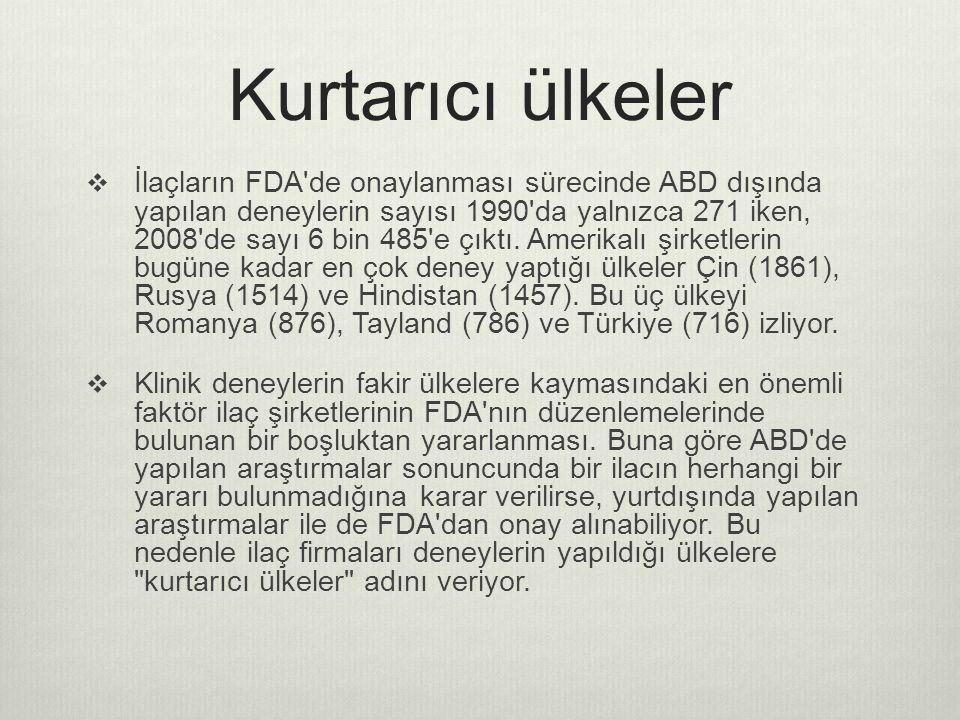 Kurtarıcı ülkeler  İlaçların FDA de onaylanması sürecinde ABD dışında yapılan deneylerin sayısı 1990 da yalnızca 271 iken, 2008 de sayı 6 bin 485 e çıktı.