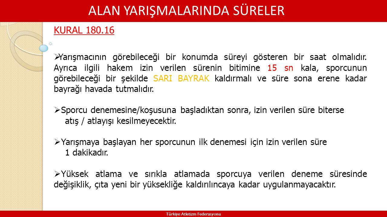 ALAN YARIŞMALARINDA SÜRELER Türkiye Atletizm Federasyonu KURAL 180.16  Yarışmacının görebileceği bir konumda süreyi gösteren bir saat olmalıdır. Ayrı