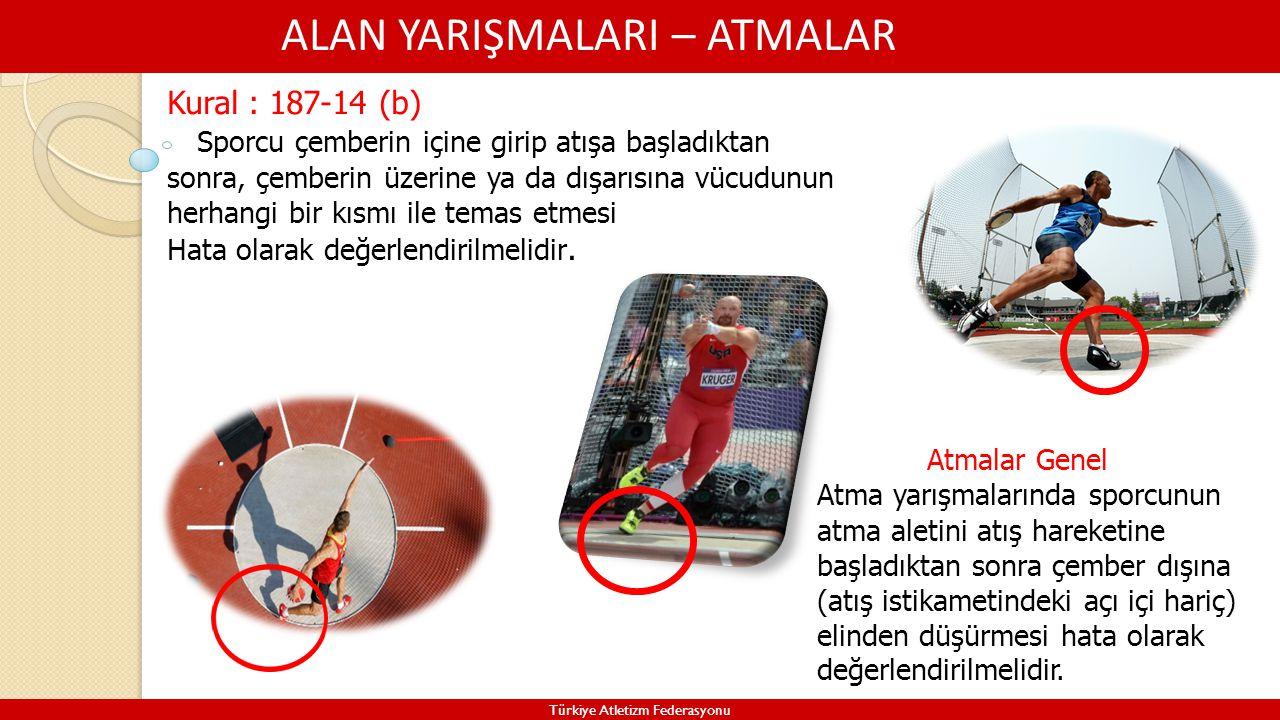 ALAN YARIŞMALARI – ATMALAR Türkiye Atletizm Federasyonu Kural : 187-14 (b) Sporcu çemberin içine girip atışa başladıktan sonra, çemberin üzerine ya da