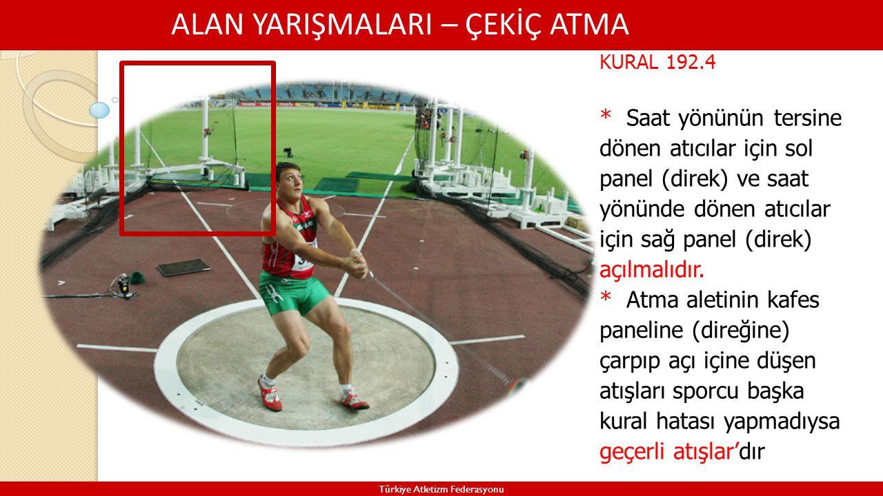 ALAN YARIŞMALARI – ÇEKİÇ ATMA Türkiye Atletizm Federasyonu KURAL 192.4 * Saat yönünün tersine dönen atıcılar için sol panel (direk) ve saat yönünde dö