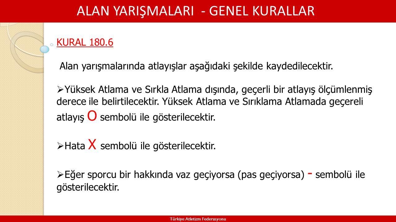 ALAN YARIŞMALARI - GENEL KURALLAR Türkiye Atletizm Federasyonu KURAL 180.6 Alan yarışmalarında atlayışlar aşağıdaki şekilde kaydedilecektir.  Yüksek